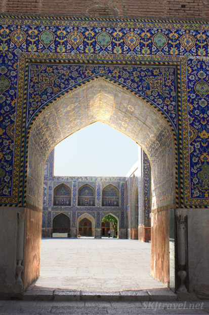 Courtyard of the Imam Mosque, Isfahan, Iran.