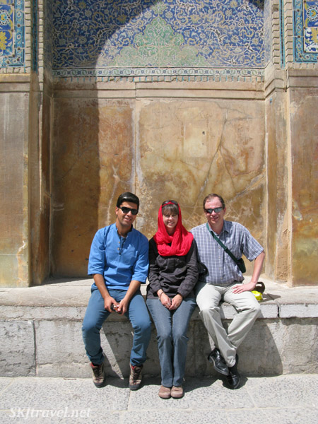 Sitting outside Imam's Mosque, Isfahan, Iran.