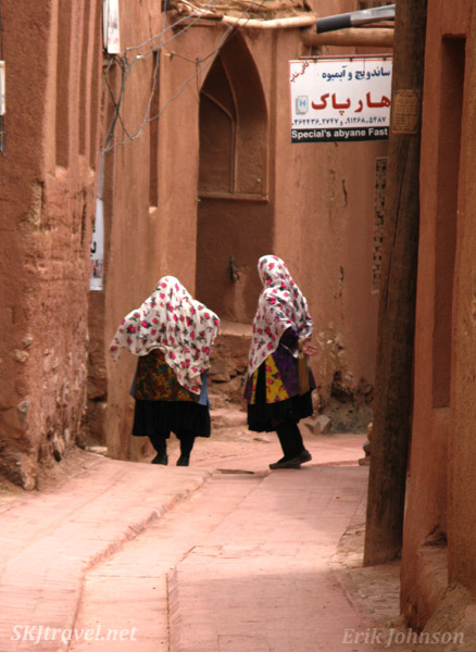 Women in traditional dress of old Iranian culture, Abyaneh village, the red village, Iran.