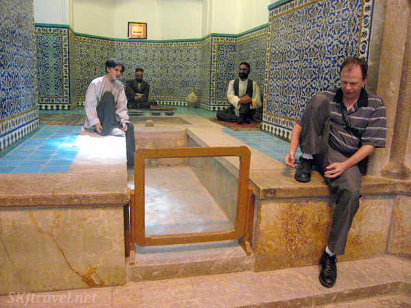 Suspiciously human-like wax figure inside the bathhouse at the bazaar in Kerman, Iran. Looks oddly like Erik.