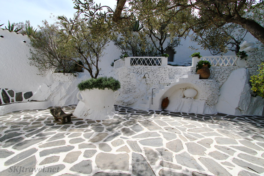 Courtyard with an egg sculpture nestled in the wall. Dali's home in Portlligat, Spain.