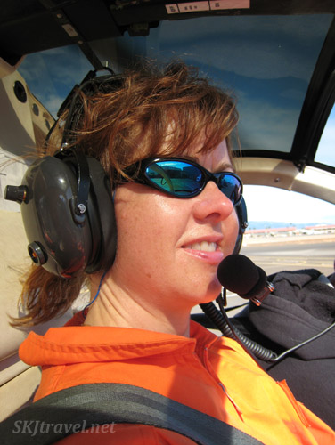Shara embarks on a new experience, riding a helicopter in Maui, Hawaii.