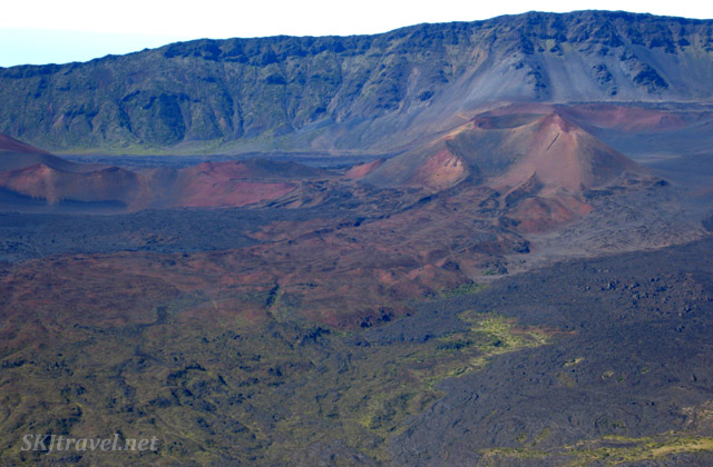 Bird's eye view of the caldera of Haleakala volcano from a helicopter, Maui, Hawaii.