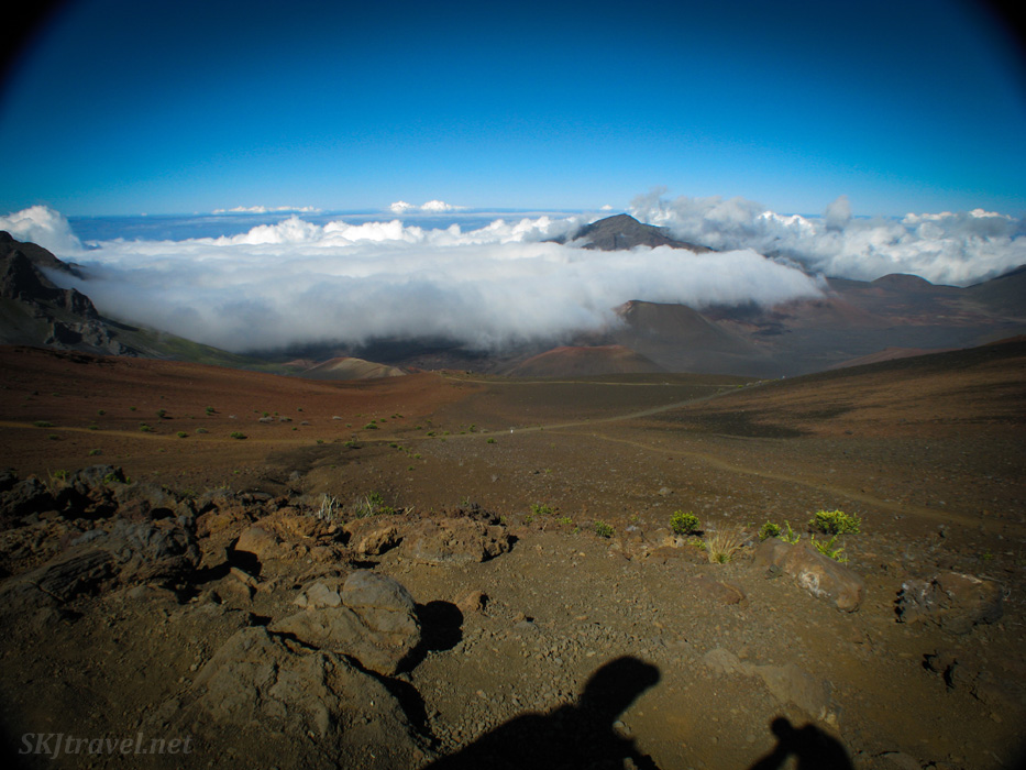 Almost impossible to take a photo in this direction without my shadow creeping into the frame. Haleakala volcano, Maui, Hawaii.