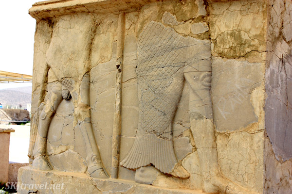 Mysterious fish-human stone relief in Pasargadae. Iran.
