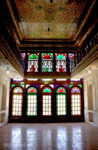 Interior stained glass windows, Narenjestan (Orange Garden), Shiraz, Iran