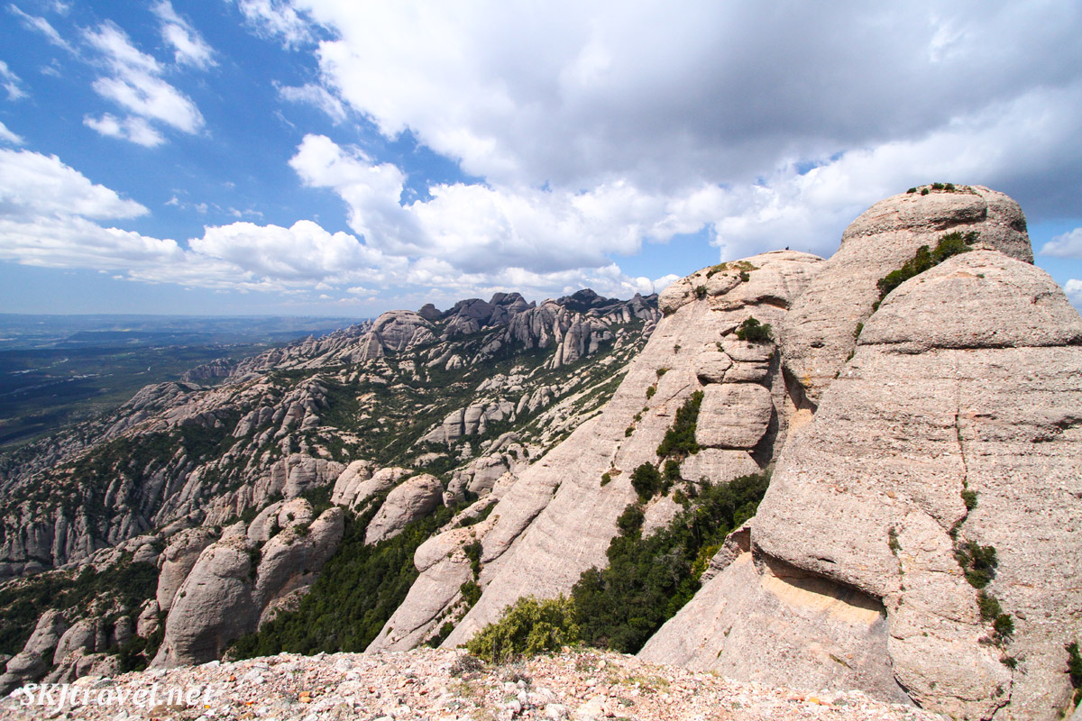 View from mountaintop at Montserrat, Spain, looking at further unique rock formations.