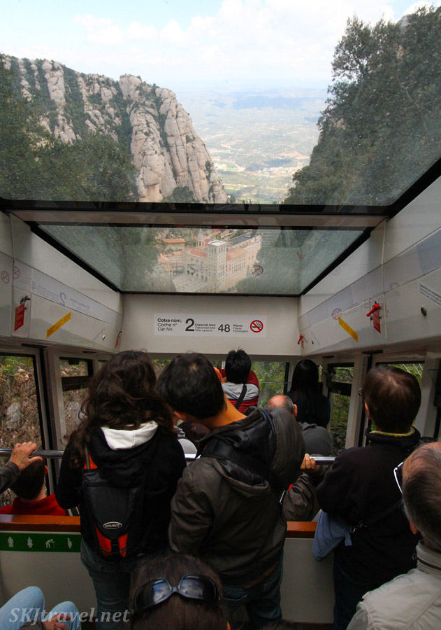 Riding the funicular up the mountainside at Montserrat, Spain.