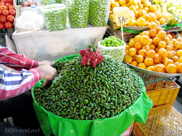 Fresh almonds inside the bazaar in Tehran, Iran.