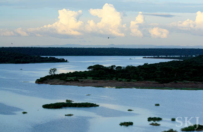 The Kazinga Channel in Queen Elizabeth National Park, seen from the balcony of my hotel.