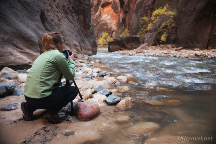 Chilly but happy photographing in The Narrows in Zion NP.
