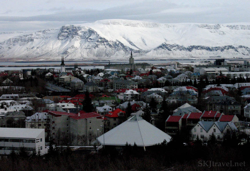 overlook of reykjavik and mountains