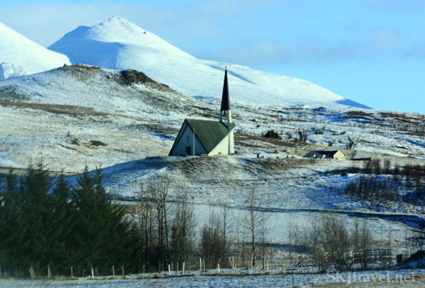 Small church with modern architecture along the roadside in Iceland. Photo by Shara Johnson