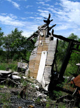 One wall standing of the house my dad grew up in, now burned down. Nebraska.