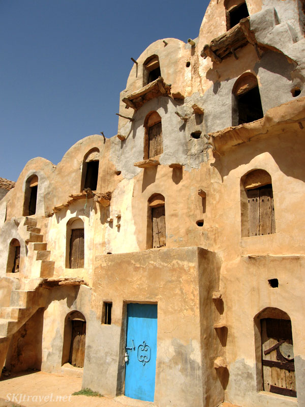 Traditional Berber dwelling and granary Ksar Ezzara with blue door, Tunisia. Photo by Shara Johnson