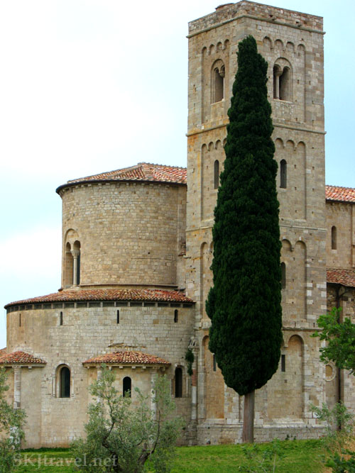 Sant'Antimo Abbey, where monks chant traditional Gregorian chants 6 times a day. Montalcino, Italy. photo by SKJtravel.net