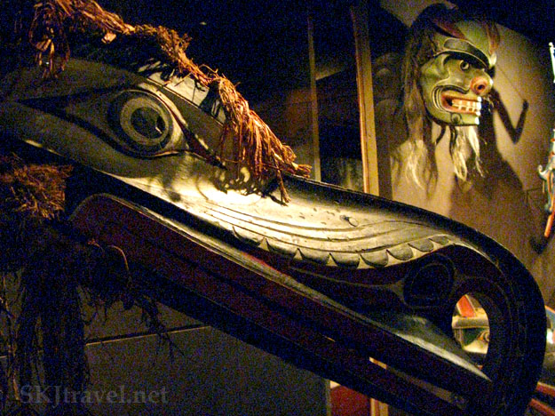 A traditional wooden mask in the Victoria BC national museum, Canada. photo by SKJtravel.net
