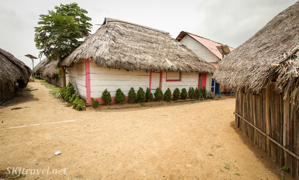 Painted wooden hut with thatched roof, Anachakuna, Guna Yala, Panama. Pink and white with rows of shrubs.