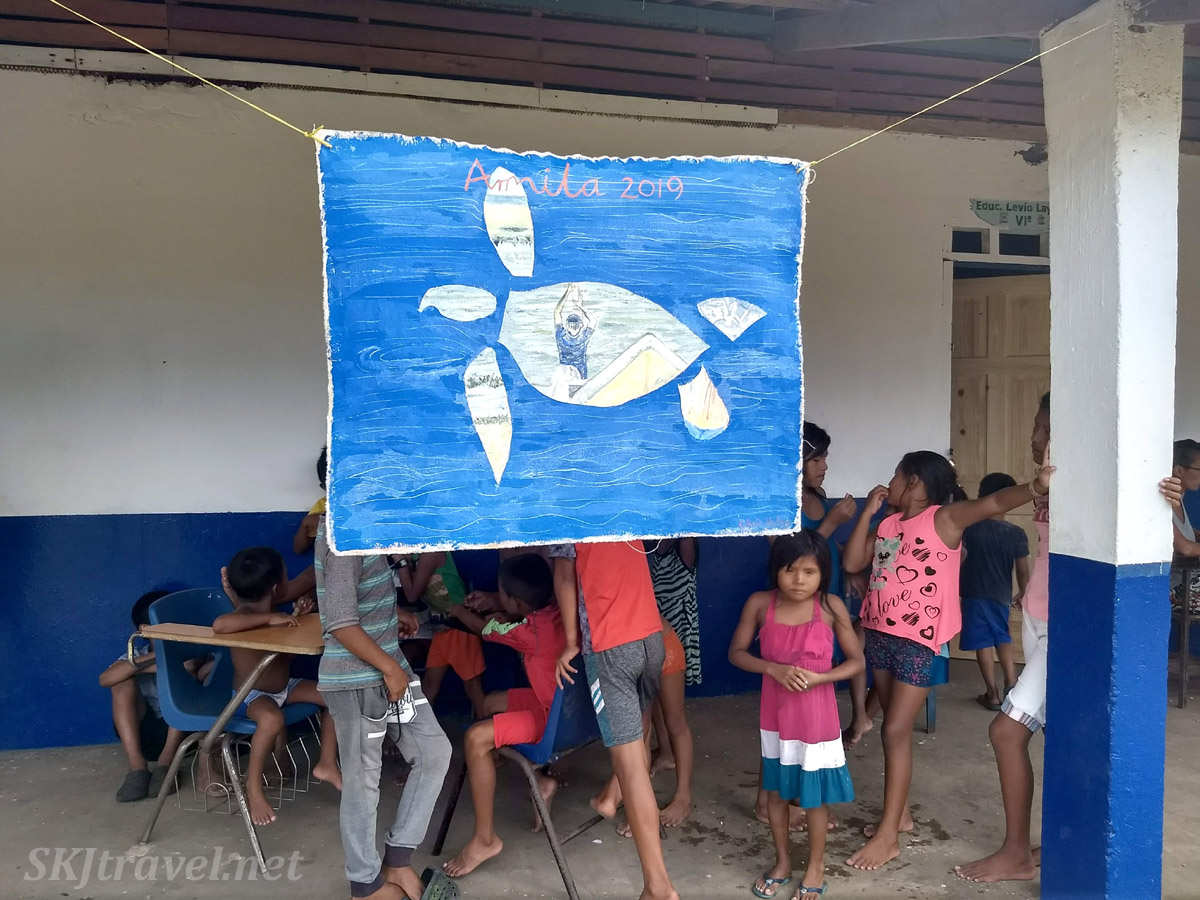 Painting by Chris Holley displayed at the turtle festival in Guna Yala village of Armila, Panama. May 2019.