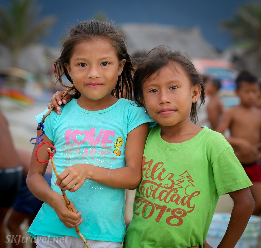 Indigenous children at the turtle festival in Guna Yala village of Armila. May 2019