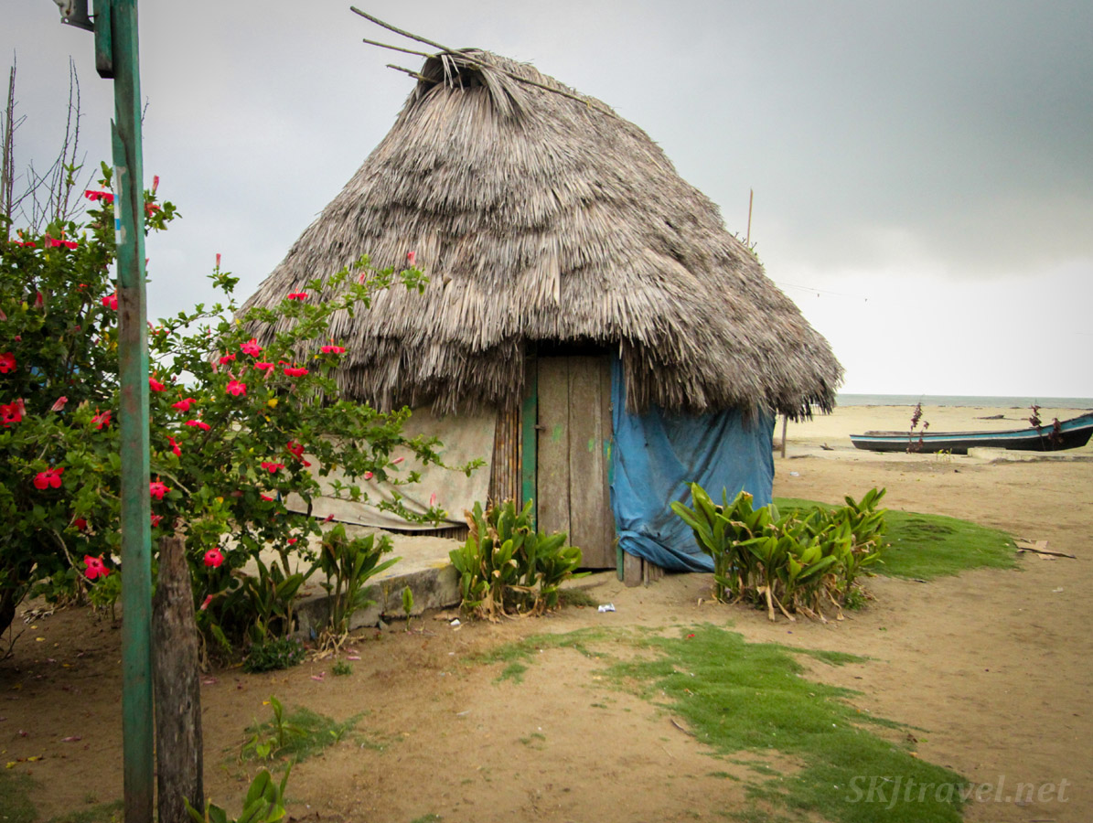 Wooden hut with thatched roof on the beach of Armila, Guna Yala, Panama.