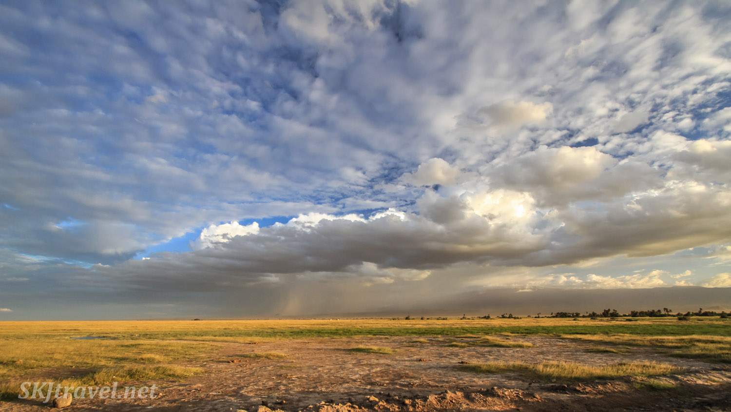 The plains of Amboseli with a sky of clouds. Kenya.