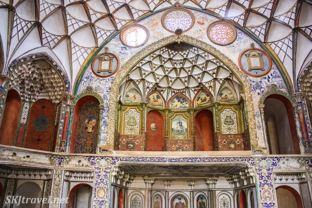 Painted interior of Borujerdi historical house in Kashan, Iran. The work of Kamal-ol-molk.