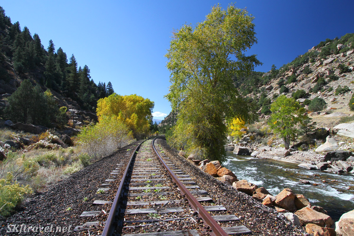 Disused railroad track beside the Arkansas River, Buena Vista, Colorado.