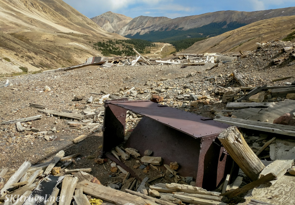 Old mining cart at the ruins of Dauntless Mine near Fairplay, Colorado.