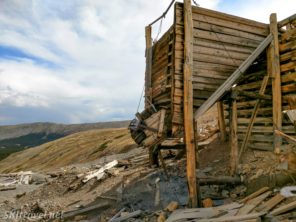 Wooden ruins of the Dauntless Mine near Fairplay, Colorado.
