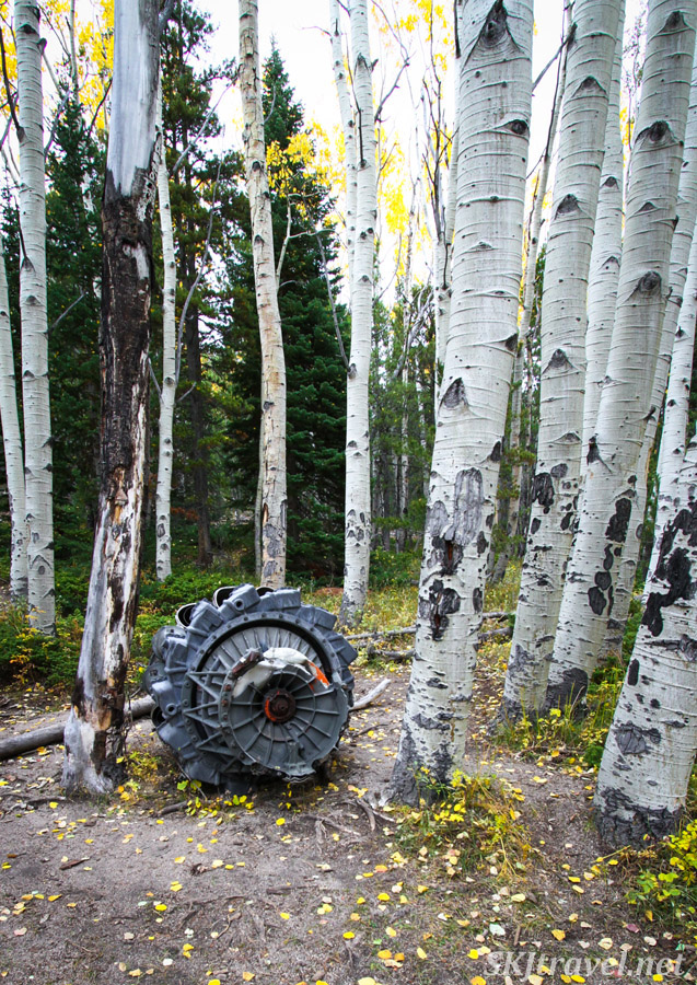 Jet engine at T-33 plane crash site. 4x4 trail from Bunce School Road, Colorado.