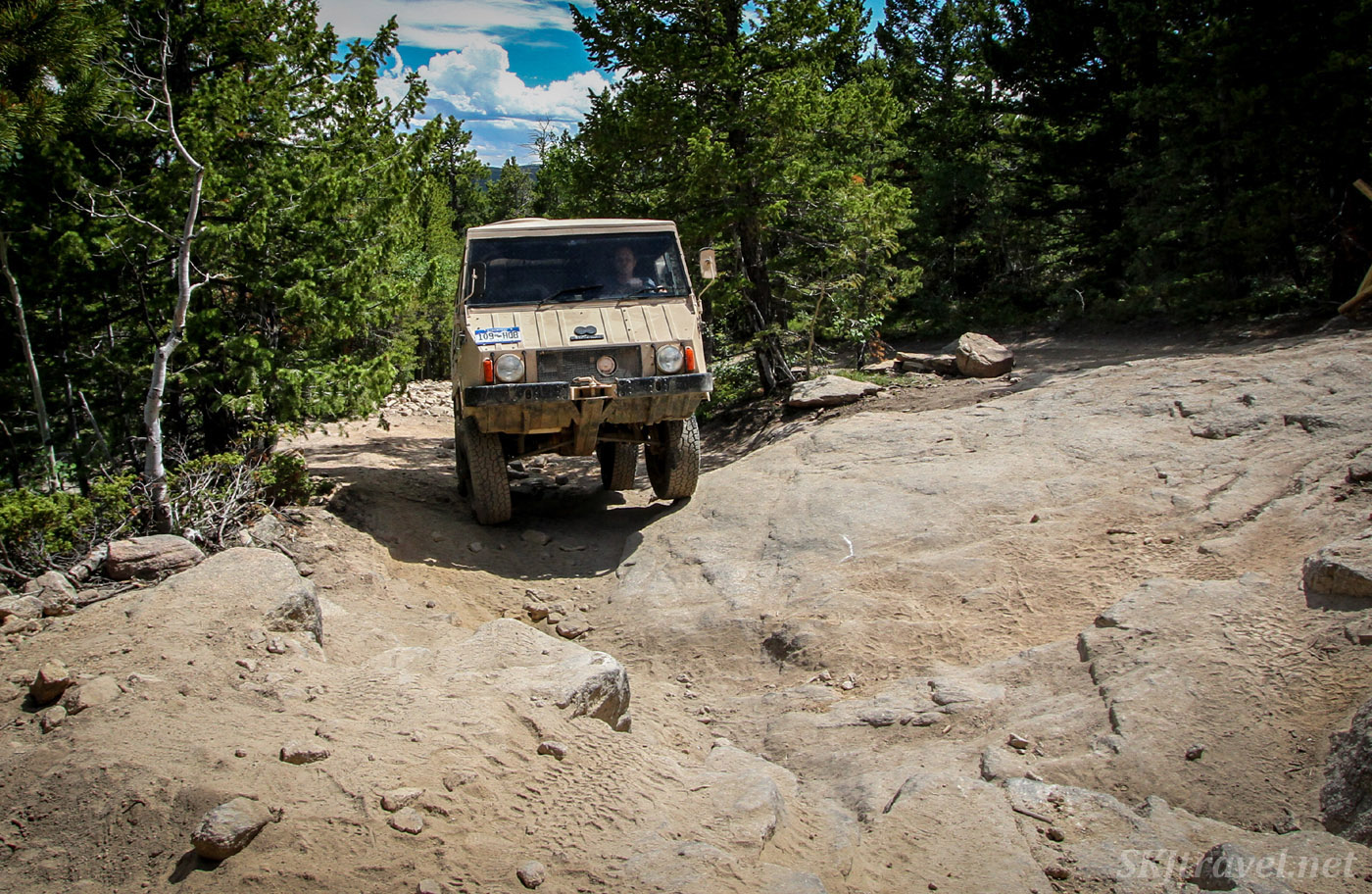 Steyr Puch 1973 Pinzgauer on the T-33 plane crash site 4x4 trail. Colorado.