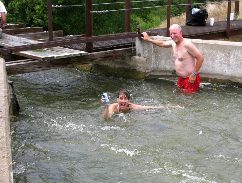 Shot out the end of the flume in my aunt and uncle's pasture. Cozad, Nebraska. I successfully went through with a beer!