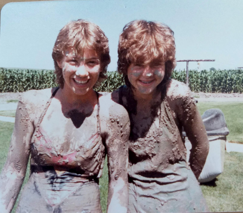 Me (right) and Marla caked in mud after the flume broke.