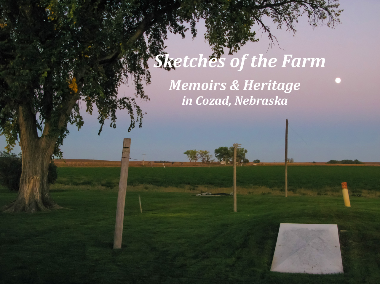 Sketches of the Farm: Memoirs and Heritage in Cozad, Nebraska. My grandparents' backyard, the home my mom was born in in the distance, the cellar in the foreground. Clarence and Beulah Maack farm.