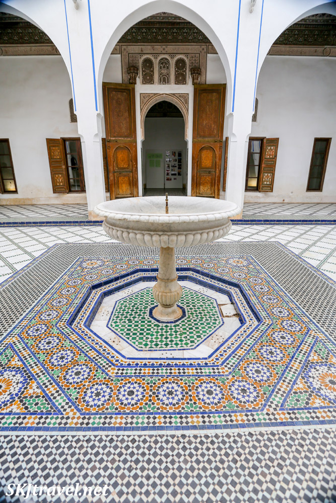 The small courtyard with fountain, Bahia Palace, Marrakech, Morocco. UNESCO World Heritage.