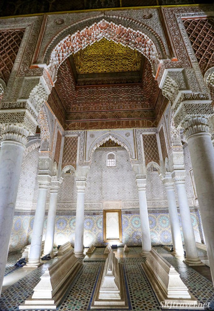 Mausoleum of Ahmed al-Mansur, Chamber of twelve columns, Saadian tombs, Marrakech, Morocco. Featuring Moroccan carved stucco, marble and tilework.