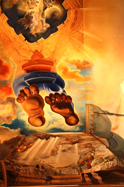 Giant feet come down from heaven in a Dali painting on the ceiling of Palace of the Wind in Dali Museum, Figueres, Spain.