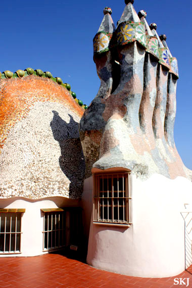 Rooftop sculptures on the Batllo in colorful tile, Barcelona. photo by Shara Johnson