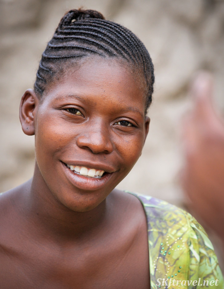 Woman with close braided hair. Kavango region, Namibia.