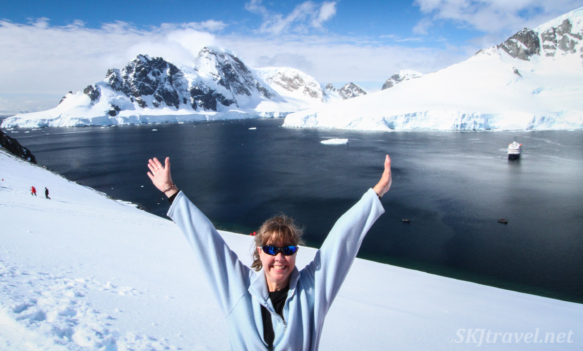 Shara at Orne Harbor, Antarctica.
