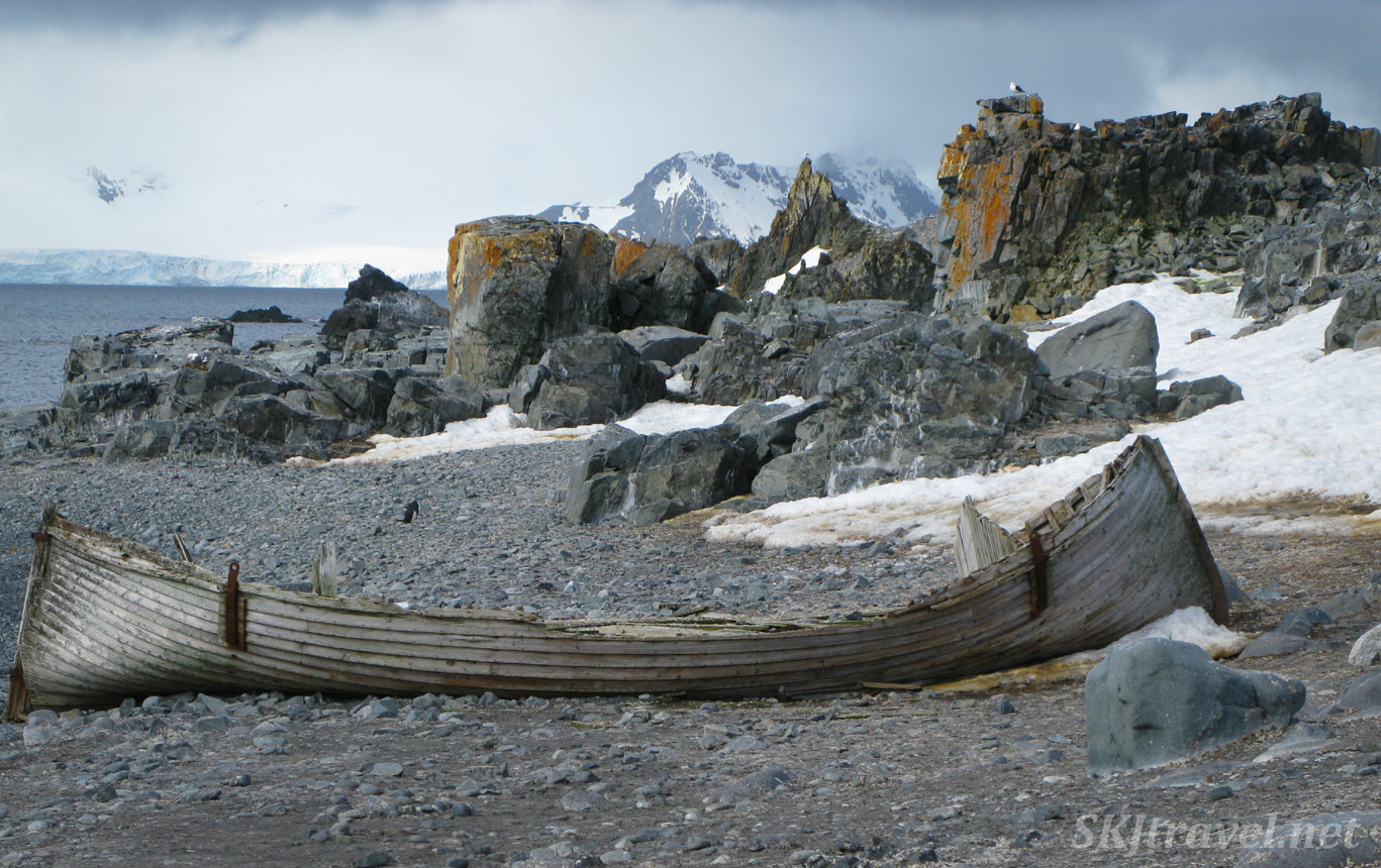 Old rotting wooden boat from whaling era, Halfmoon Island, South Shetland Islands.