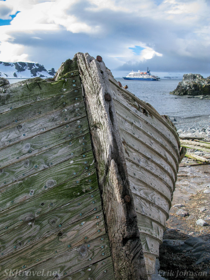 Old rotting wooden boat from whaling ship era, Halfmoon Island, South Shetland Islands.