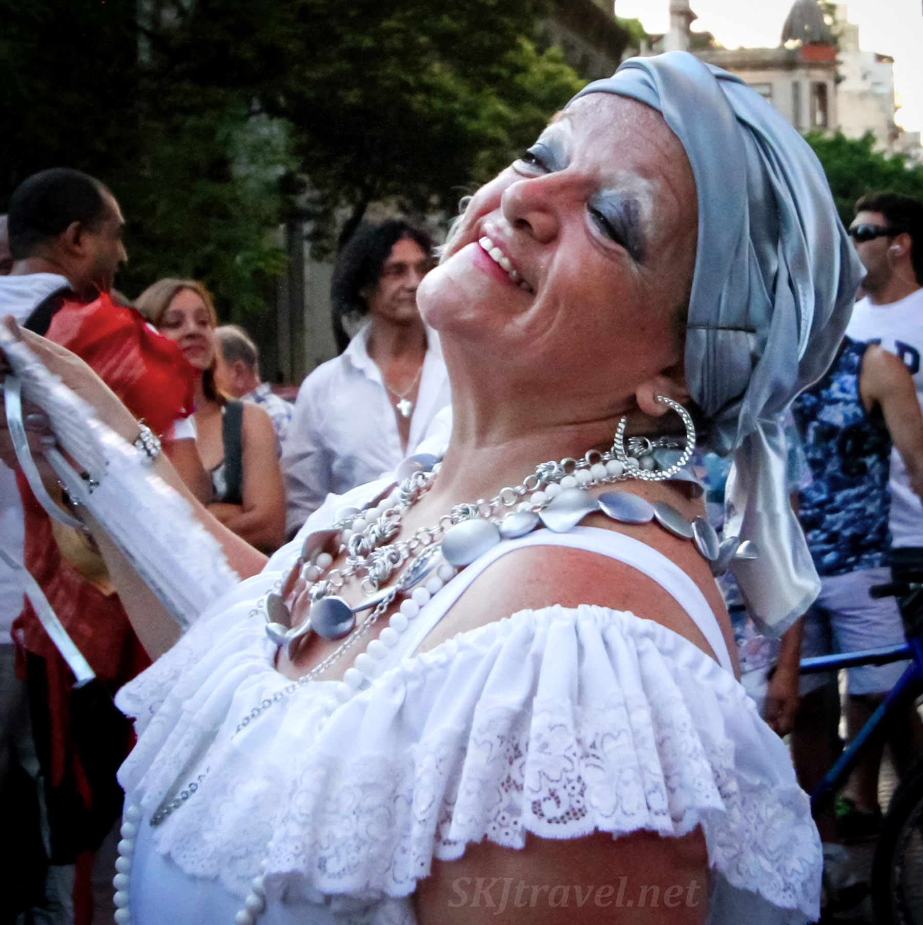 Woman dancer in the San Telmo Candombe Parade, Buenos Aires, Argentina.