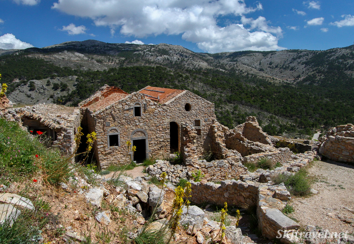 Views of surrounding hillsides from the hilltop fortified village of Anavatos, abandoned ruins, Chios Island, Greece.
