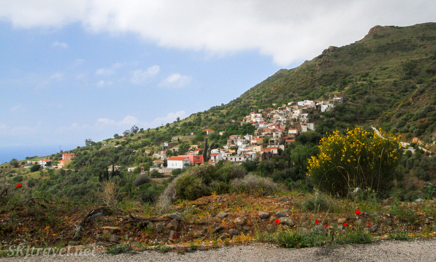 Typical village nestled into a hillside in northern Chios Island, Greece.