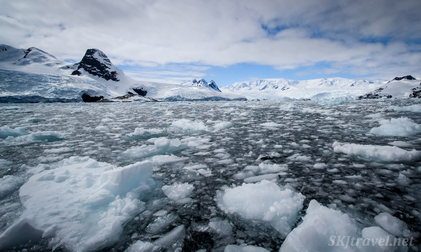 On a zodiac cruise through densely slushy waters, Cierva Cove, Antarctica.