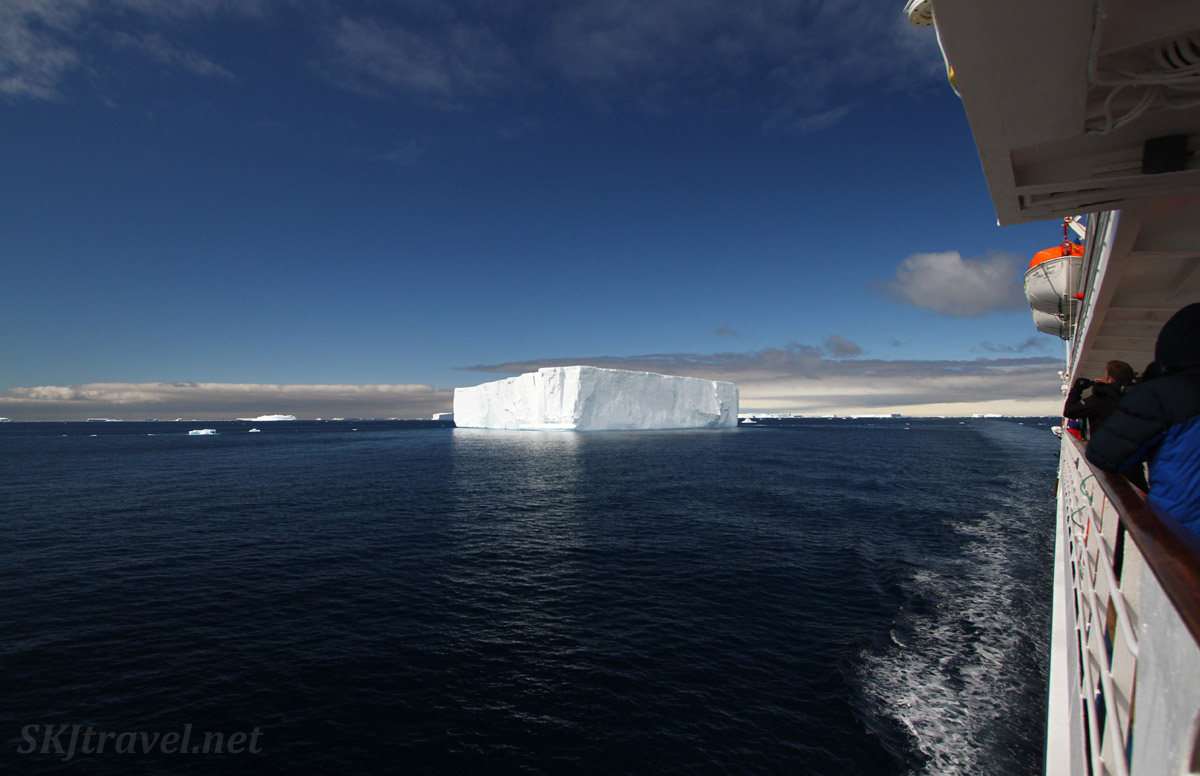 First large, tabular iceberg seen from our ship. Antarctica.