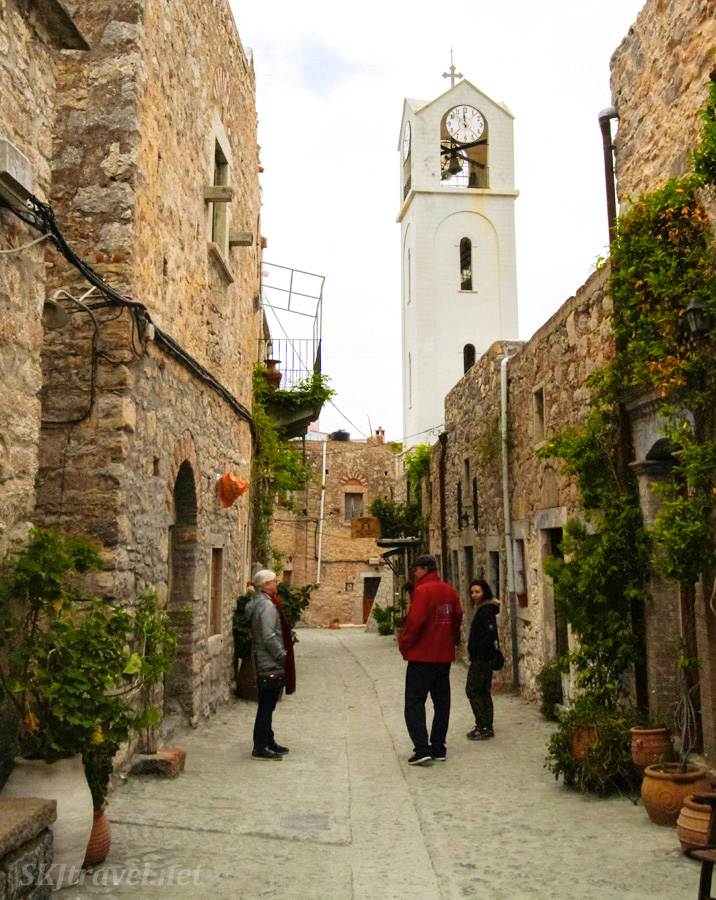 Outside the fortified city walls of the mastic castle town of Mesta, Chios Island, Greece.