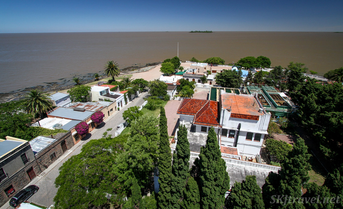 View from the lighthouse in the historic town center of Colonia del Sacramento, Uruguay.